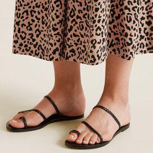 Seed Heritage Black Leather Braided Sandals 39 8.5